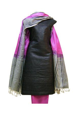 Printed Purple Black Tussar Silk  Salwar Suit
