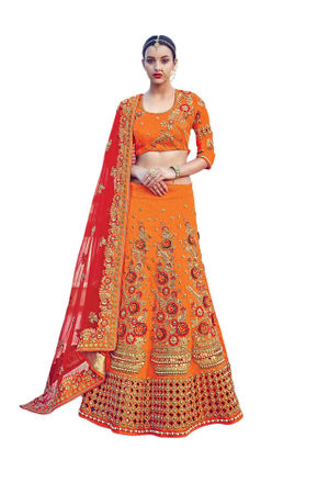 Orange Color Party wear Art Silk Embroidered Lehenga