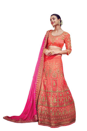Rose Pink Party wear Art Silk Embroidered Lehenga