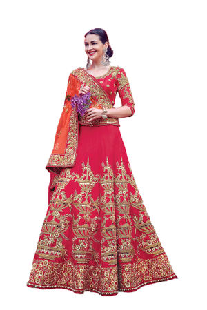 Dark Pink Party wear Art Silk Embroidered Lehenga