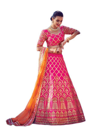 Rani Pink Party wear Art Silk Embroidered Lehenga