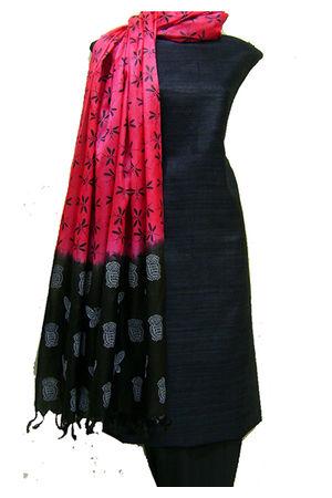 Pure Tussar Gicha Silk Salwar Suit Material_Black Pink
