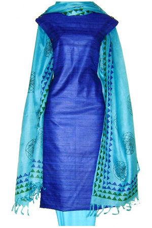 Pure Tussar Gicha Silk Salwar Suit Material_Blue