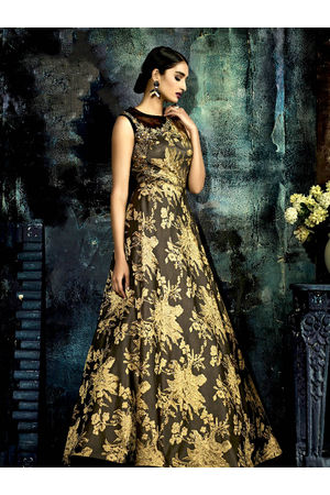 Designer Brown Mustard Long Party Gown