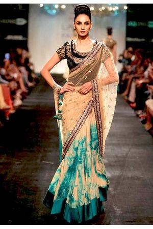 Turquoise Green Tie & Dye Georgette Lehenga saree- by Vikram Phadnis