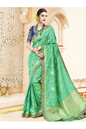 Kanjivaram Embroidered  Green Wedding Saree_10