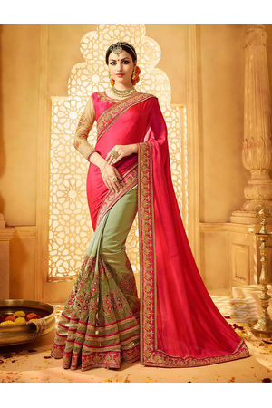 Hot Pink With Green Color Art Silk Designer Half N Half wedding Saree_12