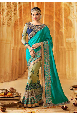 Designer Heavily Embroidered Green Wedding Saree_13