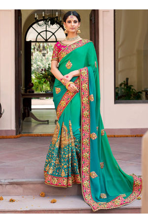 Designer Green Wedding Saree with Pink Contrast Border and Blouse