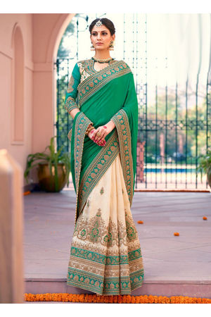 Designer Green Wedding Saree_18