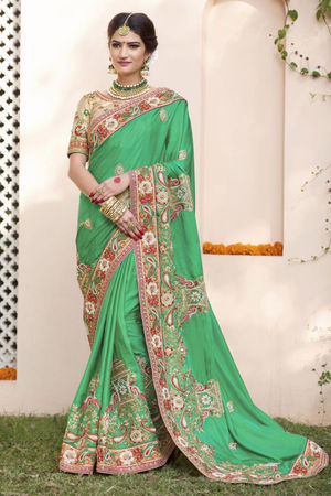 Designer Green Wedding Saree_22