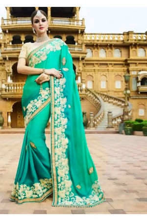 Designer Green Wedding Saree_23