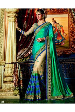Designer Green Wedding Saree_4