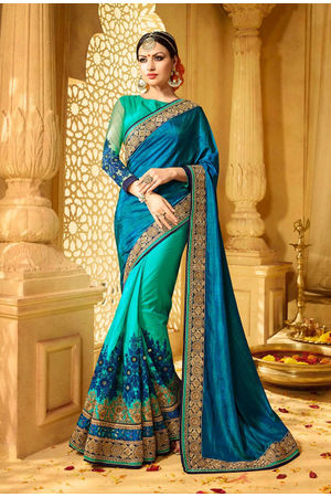 Designer Green Turquoise  Wedding Saree with Resham Embroidery_7
