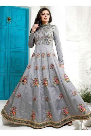 Drashti Dhami Embroidered Long Anarkali Suit_4