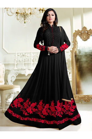 Drashti Dhami Embroidered Long Anarkali Suit_9