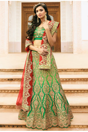 Green Raw Silk Heavy  Wedding Lehenga Choli with Red Net Dupatta