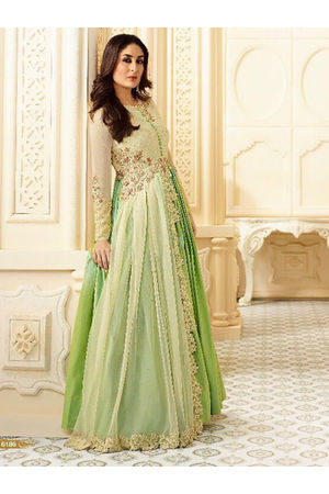 Kareena Kapoor Green & Cream Georgette Anarkali Gown Suit