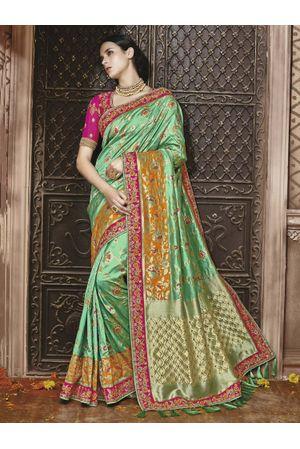 Green Kanjeevaram silk saree with embroidery