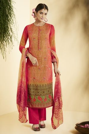Red Green Pure Bemberg Georgette Salwar Suit in digital print with embroidery