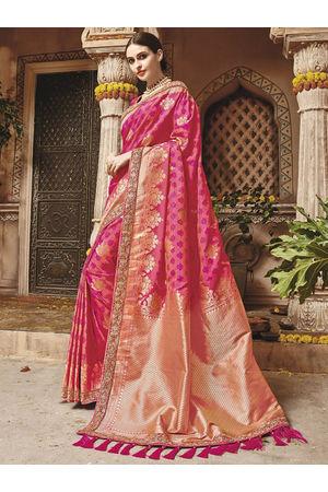 Hot Pink  Kanjeevaram silk saree with embroidery