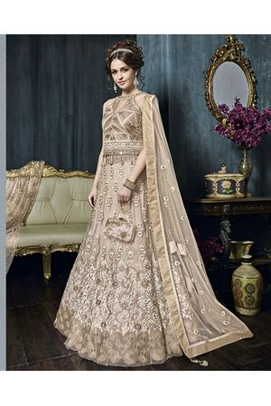 Peach Color Heavy Embroidered Indo Western Anarkali Suit