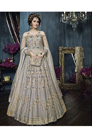 Mauve Grey Color Heavy Embroidered Indo Western Anarkali Suit