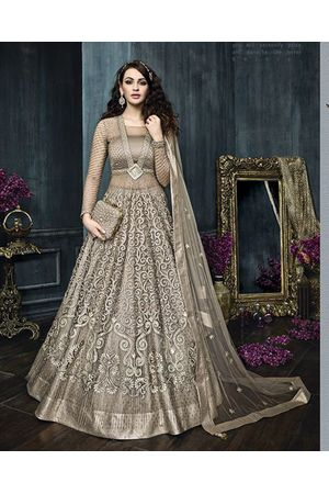 Grey Beige Heavy Embroidered Indo Western Anarkali Suit