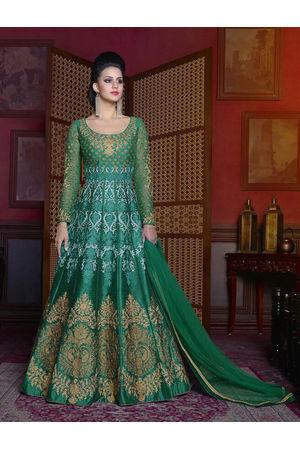 Green Color  Long Indowestern Anarkali Gown