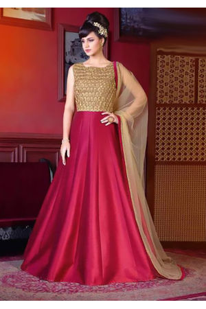 Red Color Long Indowestern Anarkali Gown