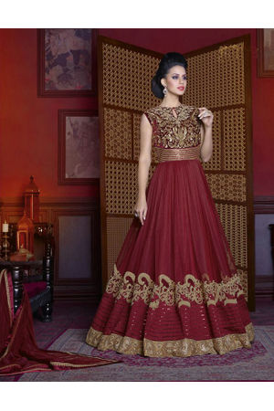 Maroon  Long Indowestern Anarkali Gown