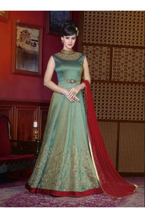 Green Long Indowestern Anarkali Gown