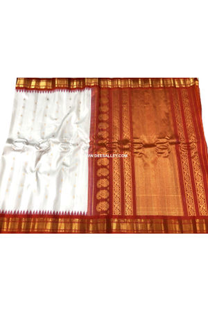 White Red  Pure Kanjeevaram Silk Wedding Saree - 100% Pure Silk