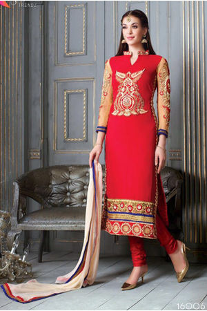 Red Color Georgette Partywear Straight Suit