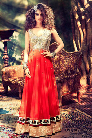 Kangana Ranuat Tangy Red Colour Georgette Anarkali Style Suit