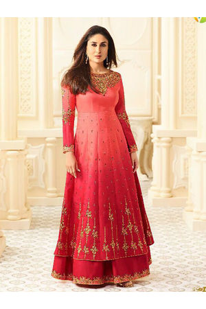 Kareena Kapoor Red Layered Long Anarkali Suit