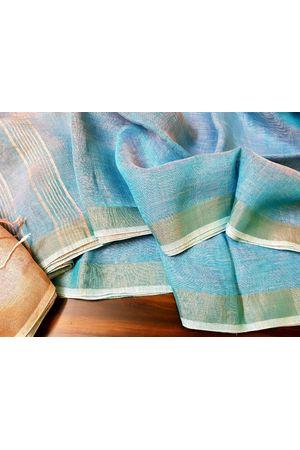 Pure Linen Silk Saree in Blue Color with Silver Zari