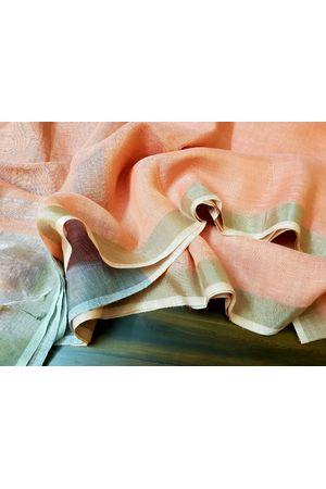 Pure Linen Silk Saree in Peach Color with Silver Zari