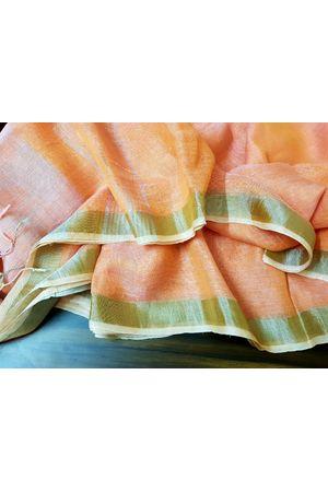 Pure Linen Silk Saree in Orangish Peach Color with Silver Zari