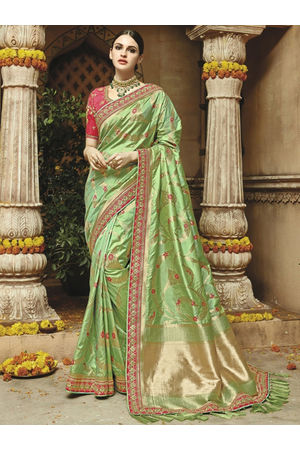 Light Green Kanjeevaram Silk saree
