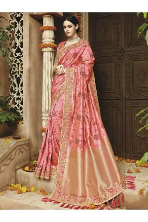 Pink  Kanjeevaram silk saree with embroidery