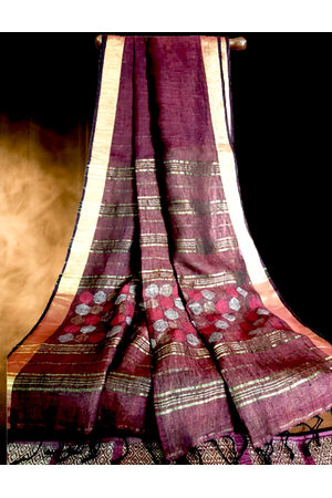 Dee's Alley  Pure Linen by Linen Saree with Jamdani Work and golden Zari Border