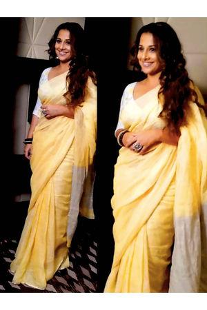 Pure Linen Silk Saree in  Yellow with Silver Zari