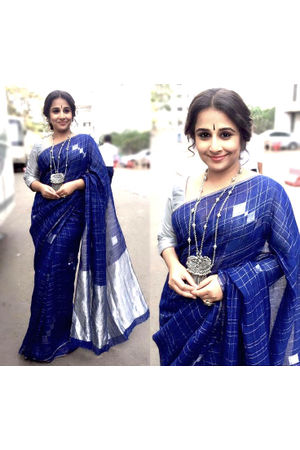 Pure Linen Silk Saree in Blue color with Silver Zari Border