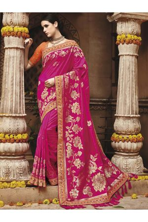 Pink with Orange  Kanjeevaram silk saree with embroidery