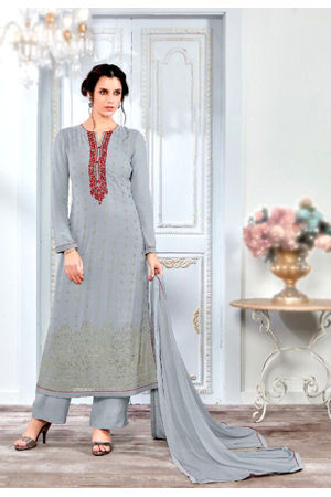 Embroidered Georgette Straight Salwar Suit_102