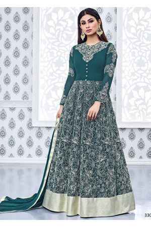 Mouni Roy Green Embroidered  Long  Anarkali Salwar Suit