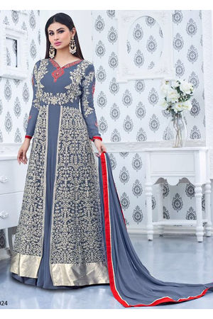 Mouni Roy Grey Blue Long  Anarkali Salwar Suit