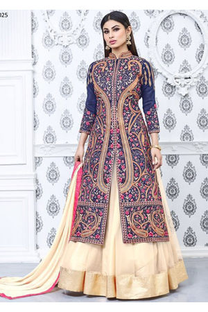 Mouni Roy Cream and Blue Lehenga Anarkali Salwar Suit