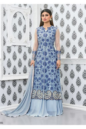 Mouni Roy Light Greyish Blue Anarkali Salwar Suit